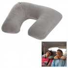 WELLHOUSE WH00101 Travel Inflatable Velvet + PVC Neck Protection Pad / Pillow - Grey