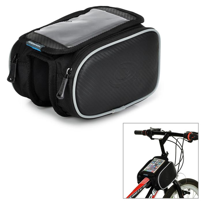 ROSWHEEL 12813 Folding Cycling PVC + PU Bike Front Tube Bag w/ Transparent Cellphone Bag - Black roswheel 12659 waterproof cycling bicycle pu top tube double storage bag black