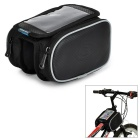 ROSWHEEL 12813 Folding Cycling PVC + PU Bike Front Tube Bag w/ Transparent Cellphone Bag - Black
