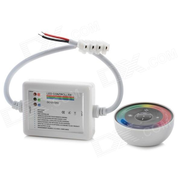 Wireless RGB LED Controller w/ Touch Round Remote Control - White universal 1 5 lcd air conditioner a c remote control controller white 2 x aaa