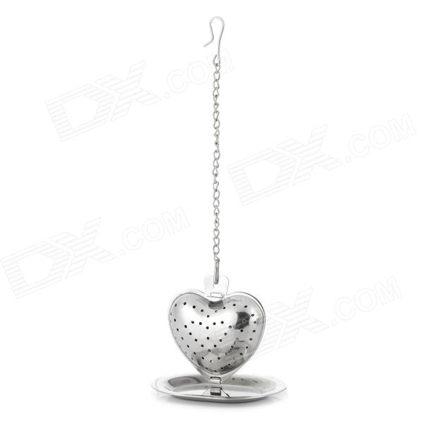 Heart Shaped Stainless Steel Tea Leaves Infuser - Silver