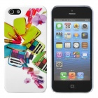 Nail Polish & Cosmetic Case Pattern Protective Plastic Back Case for Iphone 5 - White + Green + Pink