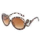 Leopard Pattern Fashionable Women's UV400 Protection Round Lens Sunglasses - Black + Brown