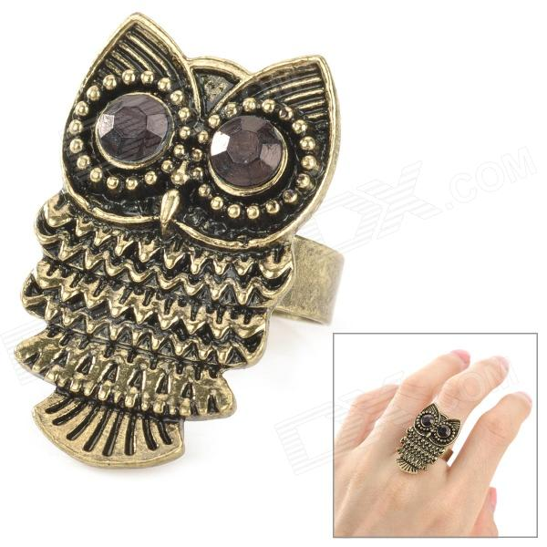 Owl Style Fashionable Zinc Alloy Ring - Bronze