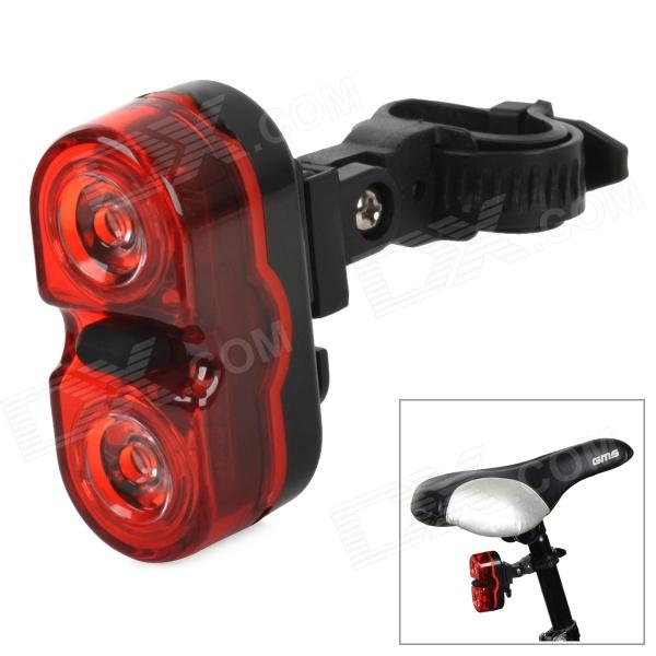 JY-528 3-Mode 2-LED Red Light Bike Tail Lamp w/ Holder - Red + Black (2 x AAA)