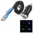 Flashing Smile USB to Lightning 8-Pin Data Cable + Car Charger for iPad 4 / iPad Mini - Blue