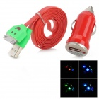 Car Charger + USB to 30-Pin Cable w/ Smiley Face Indicator Light for iPhone 4 / 4S / iPad 3 - Red