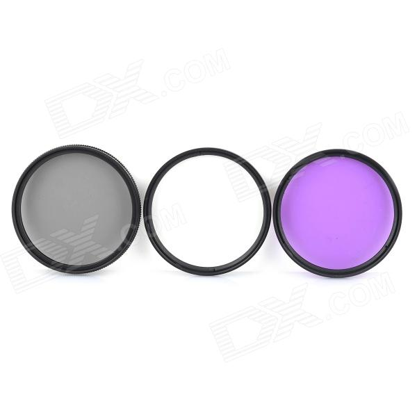 EOSCN 55MM UV + CPL + FLD Lens Filter for Nikon Pentax Sony Camera - BlackLenses Accessories<br>Model55MMForm  ColorBlackMaterialOpticalQuantity1 setLens Diameter55mmOther FeaturesThey are heat-treated to avoid any distortion or focal shift, and each filter is subject to strict tests in order to ensure a flawless, even surface, which is essential to a quality filter and exceptional photographs.<br>Other Features: UV filter absorbs ultraviolet rays to produce crisp, clear photographs; Circular polarizing filter eliminates reflections from non-metallic surfaces, and increases contrast and color saturation; FLD filter helps balance light in outdoor situations or where fluorescent lights are usedPacking List1 x Filter case 1 x CPL filter 1 x FLD filter1 x  UV filter<br>