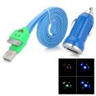 Car Charger Adapter + USB 30-Pin-Daten / Charging Lighting-Kabel für iPhone 4 / 4S - Blau + Grün