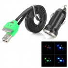 Car Charger Adapter + USB 30-Pin-Daten / Charging Lighting-Kabel für iPhone 4 / 4S - Schwarz + Grün
