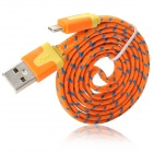 USB to 8-Pin Lightning Data/Charging Woven Nylon Cable for iPhone 5 / iPad 4 / Mini - Orange + Blue