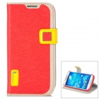 HELLO DEERE Ice Crystal Series Flip-open PU Leather Case for Samsung S4 i9500 - Red + Yellow