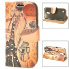Eiffel Tower Stamp Style Protective Rhinestone PU Leather Case for Samsung Galaxy S4 Mini - Brown