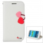 HELLO DEERE Cherry Series Flip-open PU Leather Case w/ Holder for Samsung i9300 - White + Red