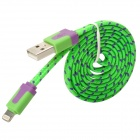 USB to 8-Pin Lightning Data/Charging Woven Nylon Cable for iPhone 5 / iPad 4 / Mini - Green + Purple