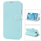 HELLO DEERE Stylish PU Leather Stand Case w/ Card Slot for Samsung Galaxy S4 - Light Blue