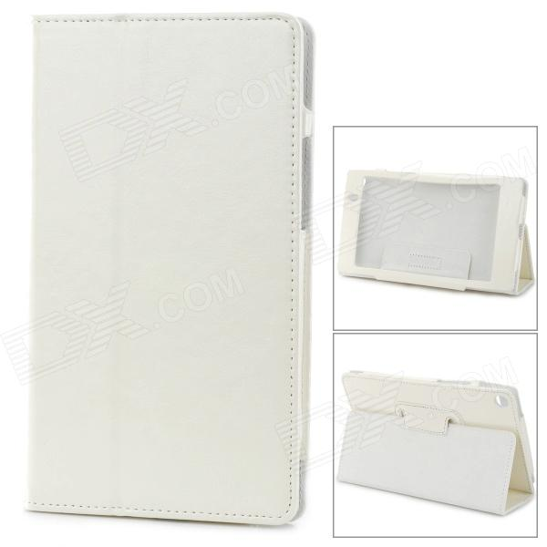 Stylish PU Leather Flip-Open Case w/ Stand for Google Nexus 7 (The Second Generation) - White