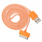USB to 30-Pin Data/Charging Nylon Cable for iPhone 4 / 4S - Orange + White