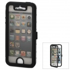 Protective Aluminum Alloy + Plastic Flip-Open Case for iPhone 5 - Black + Transparent