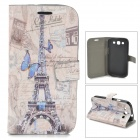Eiffel Tower & Butterfly Style Rhinestone PU Leather Case for Samsung Galaxy S3 i9300 - Blue