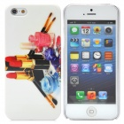 Lipstick & Nail Polish Pattern Protective Plastic Back Case for iPhone 5 - White + Red + Pink
