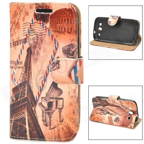 Eiffel Tower Stamp Style Protective PU Leather Case for Samsung Galaxy S3 i9300 - Brown cool snake skin style protective pu leather case for samsung galaxy s3 i9300 brown