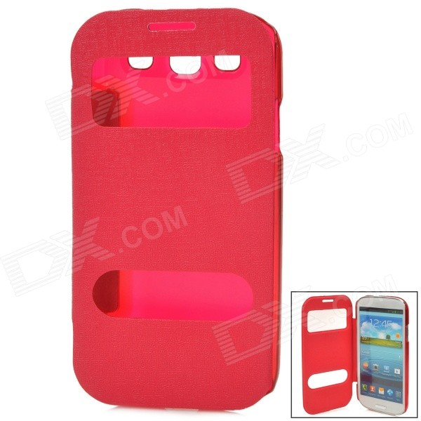 Protective PU Leather Case w/ Display Window for Samsung Galaxy S3 - Deep Pink wifi display hub стилус для samsung galaxy s3