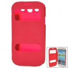 Protective PU Leather Case w/ Display Window for Samsung Galaxy S3 - Deep Pink