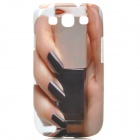 Fashion Hand Nail Polish Style Protective Plastic Case for Samsung Galaxy S3 i9300 - White + Black