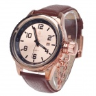 ORKINA W007 Stylish Men's Quartz Analog Wrist Watch w/ Simple Calendar - Coppery + Brown (1 x LR626)