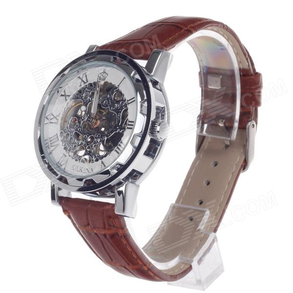 ORKINA KC023 Double-Side Hollow Style Automatic Mechanical Analog Men's Wrist Watch - Brown + Silver все цены