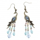 Peacock Style Zinc Alloy + Blue Rhinestones Dangle Earrings - Bronze + Multicolored (Pair)