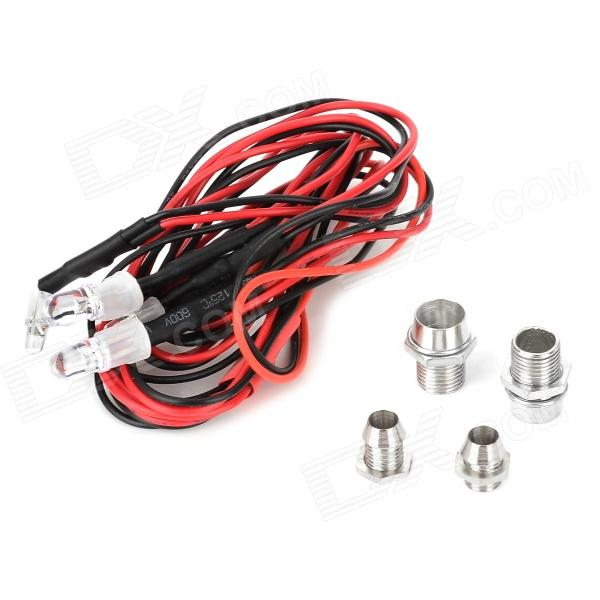 Replacement Light w/ Metal Lamp Cup for Model Vehicle w/ Futaba Interface - Black + Red (4 PCS)
