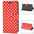 Polka Dot Style Protective PU Leather Case for HTC One M4 - Red + White
