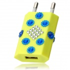 Rhinestone AC Charging Adapter Charger w/ USB Port for Iphone 5 - Fluorescence Green (EU Plug)