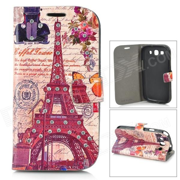 Eiffel Tower & Classic Car Style Protective PU Leather Case for Samsung Galaxy S3 i9300 - Brown cool snake skin style protective pu leather case for samsung galaxy s3 i9300 brown