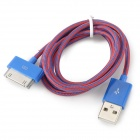 USB Male to 30-Pin Male Data / Charging Nylon Cable - Blue + Red (1m)