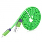 USB Male to 8-Pin Lightning Data / Charging Nylon Cable for iPhone 5 - Green + Blue (105 CM)