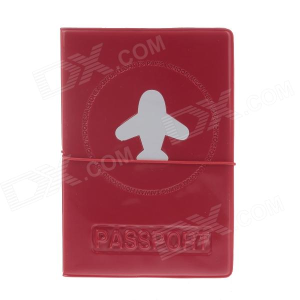 Plane Pattern PVC Passport Holder - Red + White