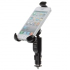 Car Mount Holder Bracket + Car Universal Charger for Samsung / Iphone / Smartphone - Black