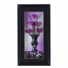 DIY Handmade Dried Flower Decoration w/ Black Frame - Purple + Black