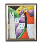 Lovely Leopard Cat Patterned Handmade Oil Painting with Wooden Frame - Multicolored