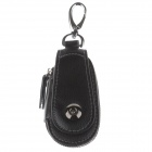 S-8321 PU Leather Zipper Car Key Holder Case Bag - Black