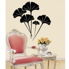 Aomei 0151 Ginkgo Leaf Pattern PVC Room Decor Wall Sticker TV Background - Black