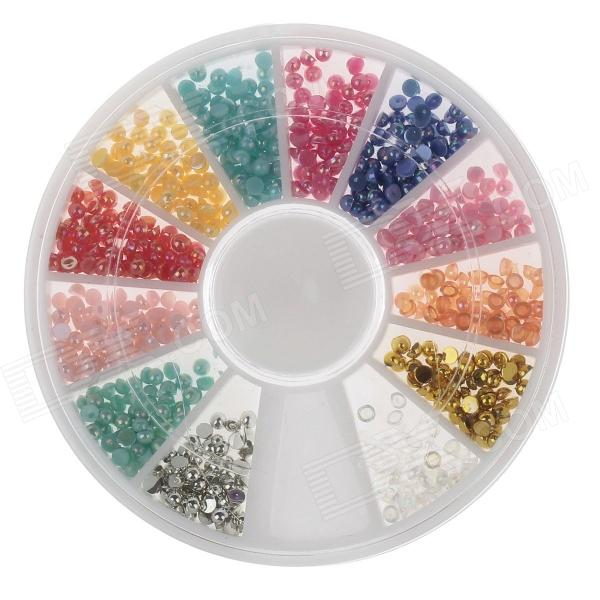 DIY 12-in-1 Nail Art Decoration Pearl Set - Multicolored
