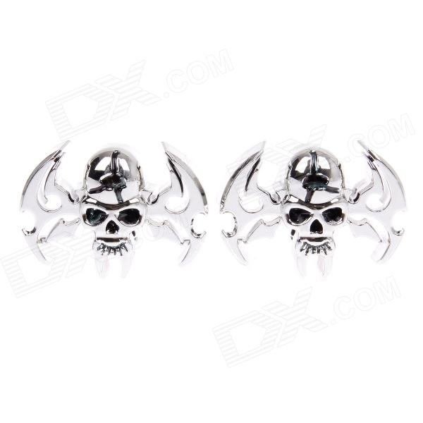 CARFU Decorative Cool Skull Style Aluminum Alloy Badge Emblem Sticker for Car - Silver (Pair) bbq fuka aluminum auto pininfarina disegno emblem badge styling sticker fit for chevy hyundai lexus ct200 car decal