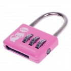 CR-20A Resettable 3-Digit Number Wire Number Lock w/ Chain - Pink + Silver