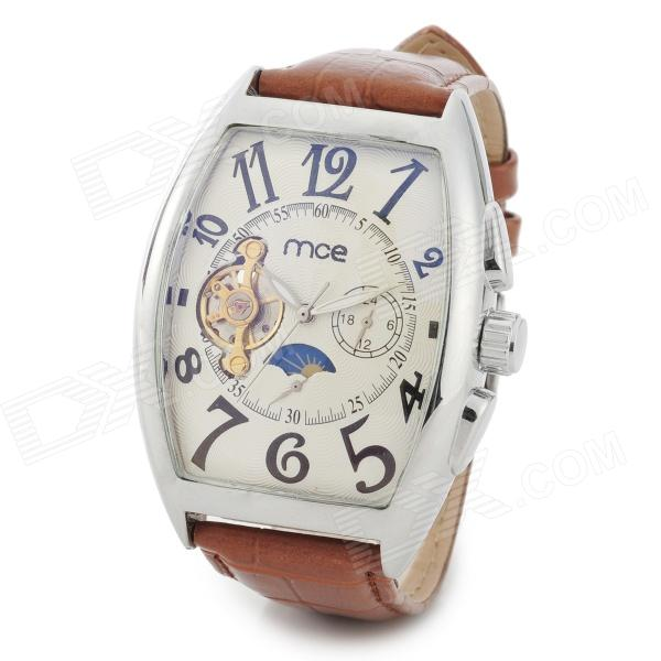 MCE 01-0060190 Men's Fashion Analogue Automatic Mechanical Wrist Watch - Brown + White