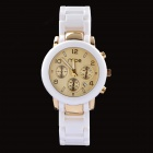 MCE 01-0060058 Round Dial Artificial Ceramic Quartz Watch w/ Calendar - White + Golden (1 x 377 )