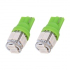 T10 5W 240lm 10 x SMD 5630 LED Green Light Car Turn Signal luz de estacionamento Canto (DC 12V / 2 PCS)